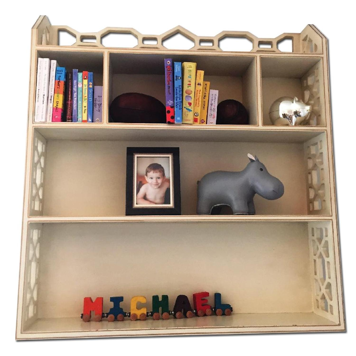 Distressed White Wall Shelving Unit - image-0