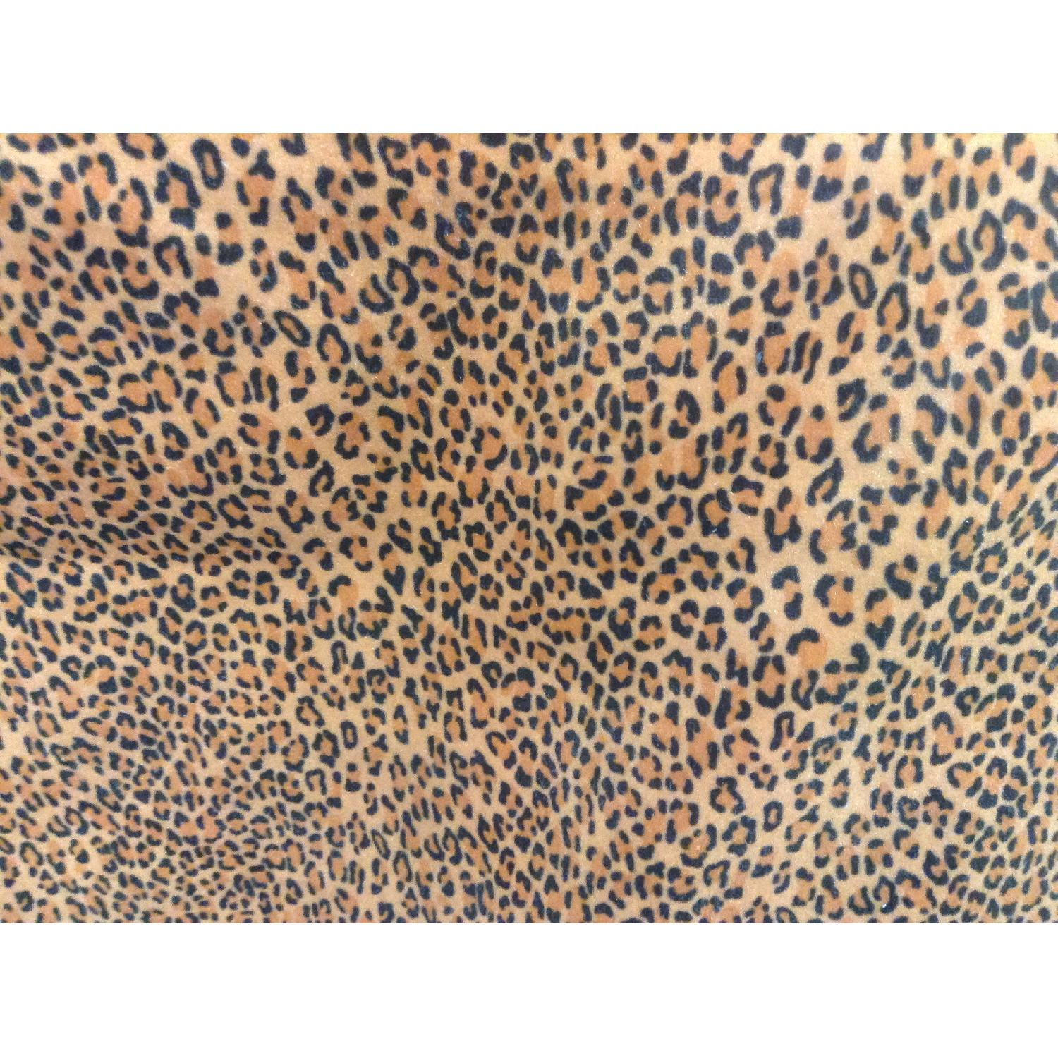 Wide Gold & Brown Leopard/Animal Print Microfiber Upholstery Fabric - image-0