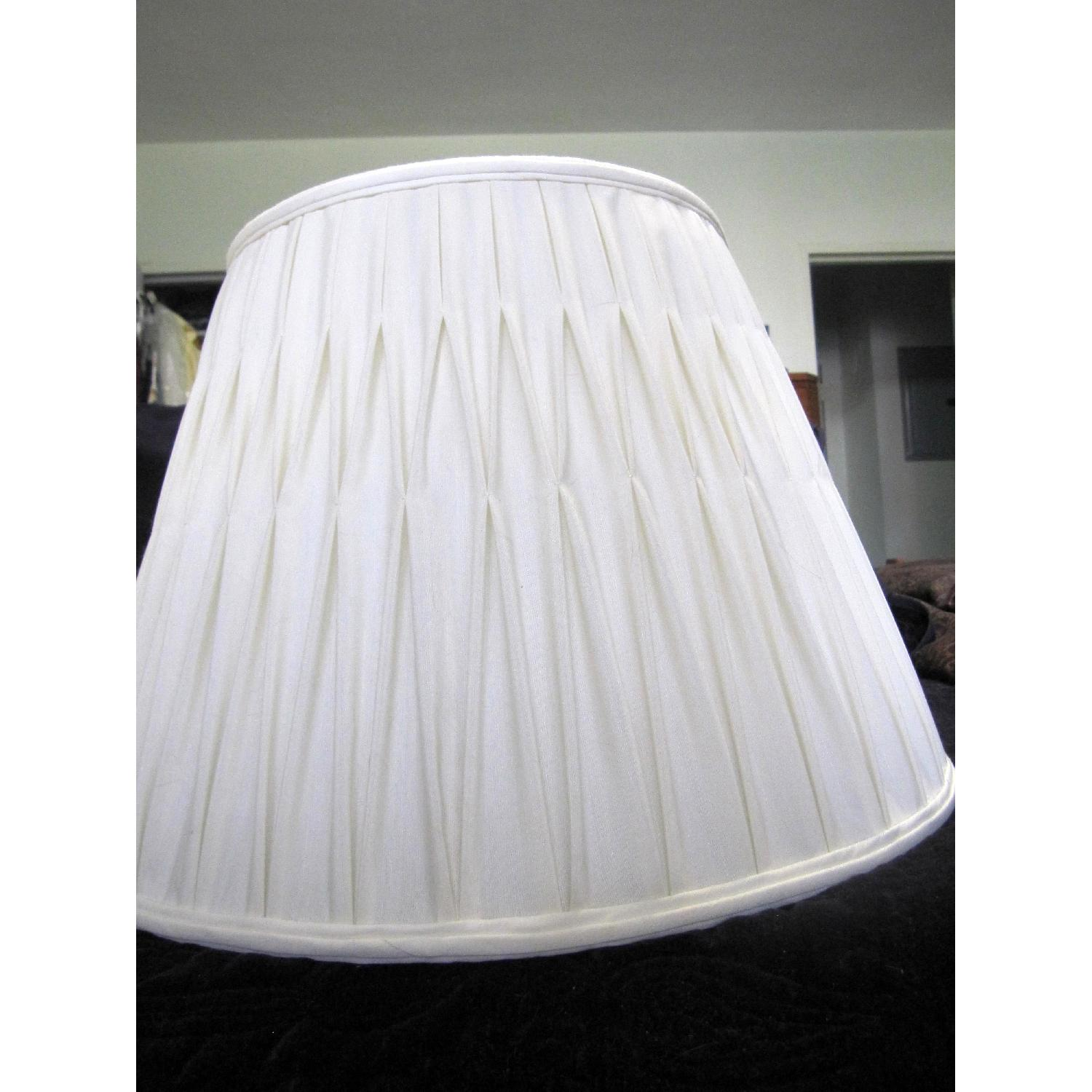 Ivory Silk-Lined Silk Pleated Lamp Shades - image-1