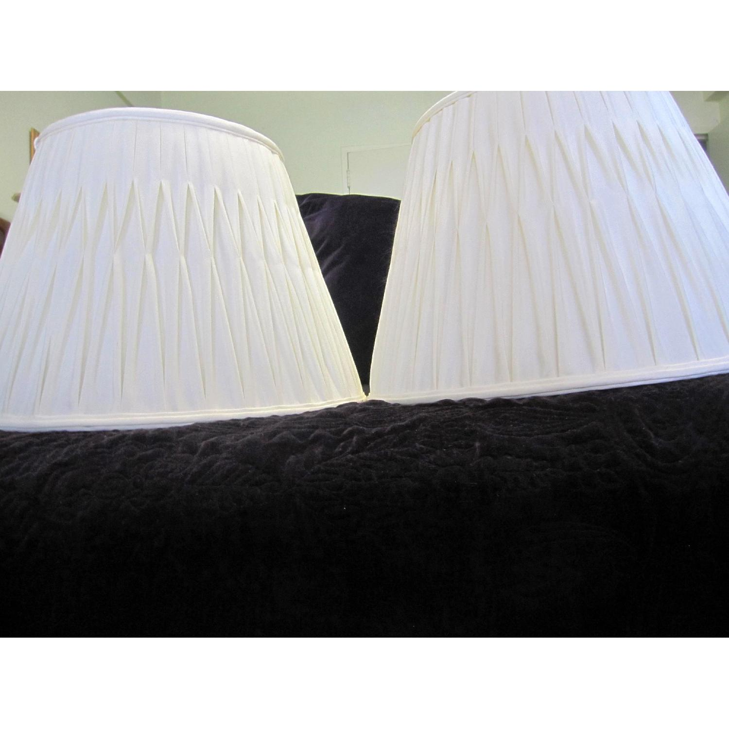 Ivory Silk-Lined Silk Pleated Lamp Shades - image-2