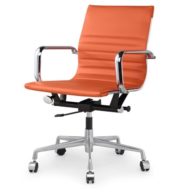 Meelano Office Chair In Vegan Leather - Orange - image-0