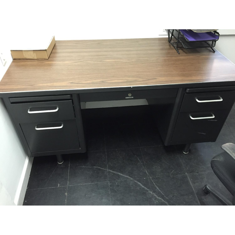 Vintage Retro Metal Office Desk - image-1