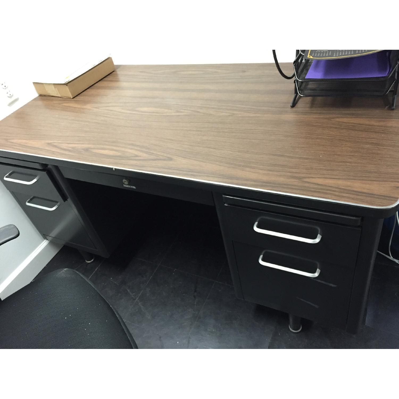 Vintage Retro Metal Office Desk - image-2
