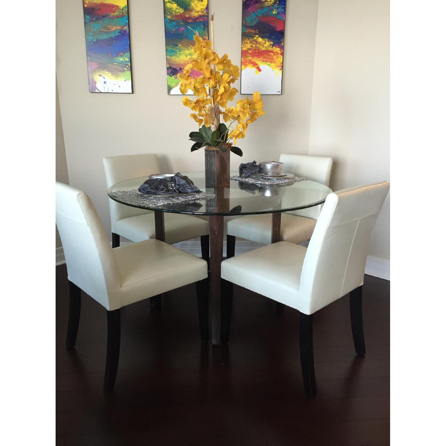 Crate & Barrel Glass Halo Dining Table - image-1