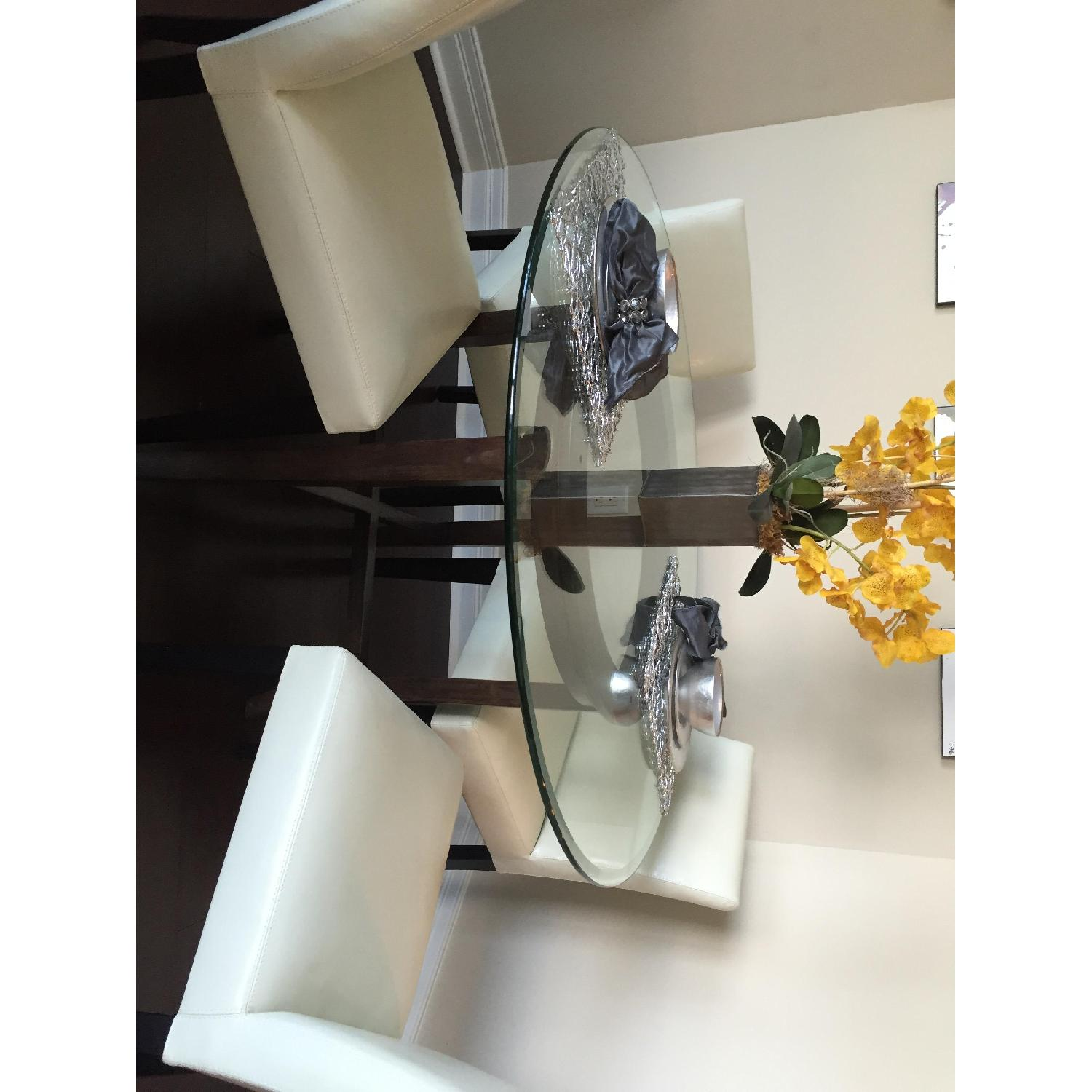 Crate & Barrel Glass Halo Dining Table - image-2