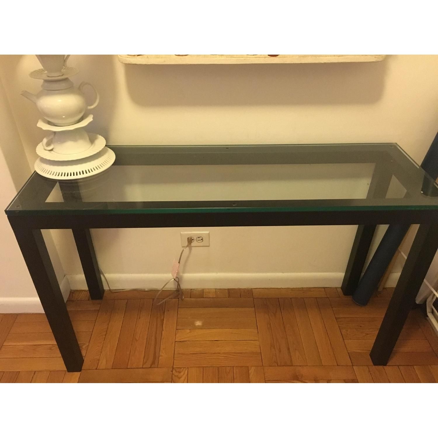 Crate & Barrel Parsons Console Table w/ Clear Glass Top - image-1