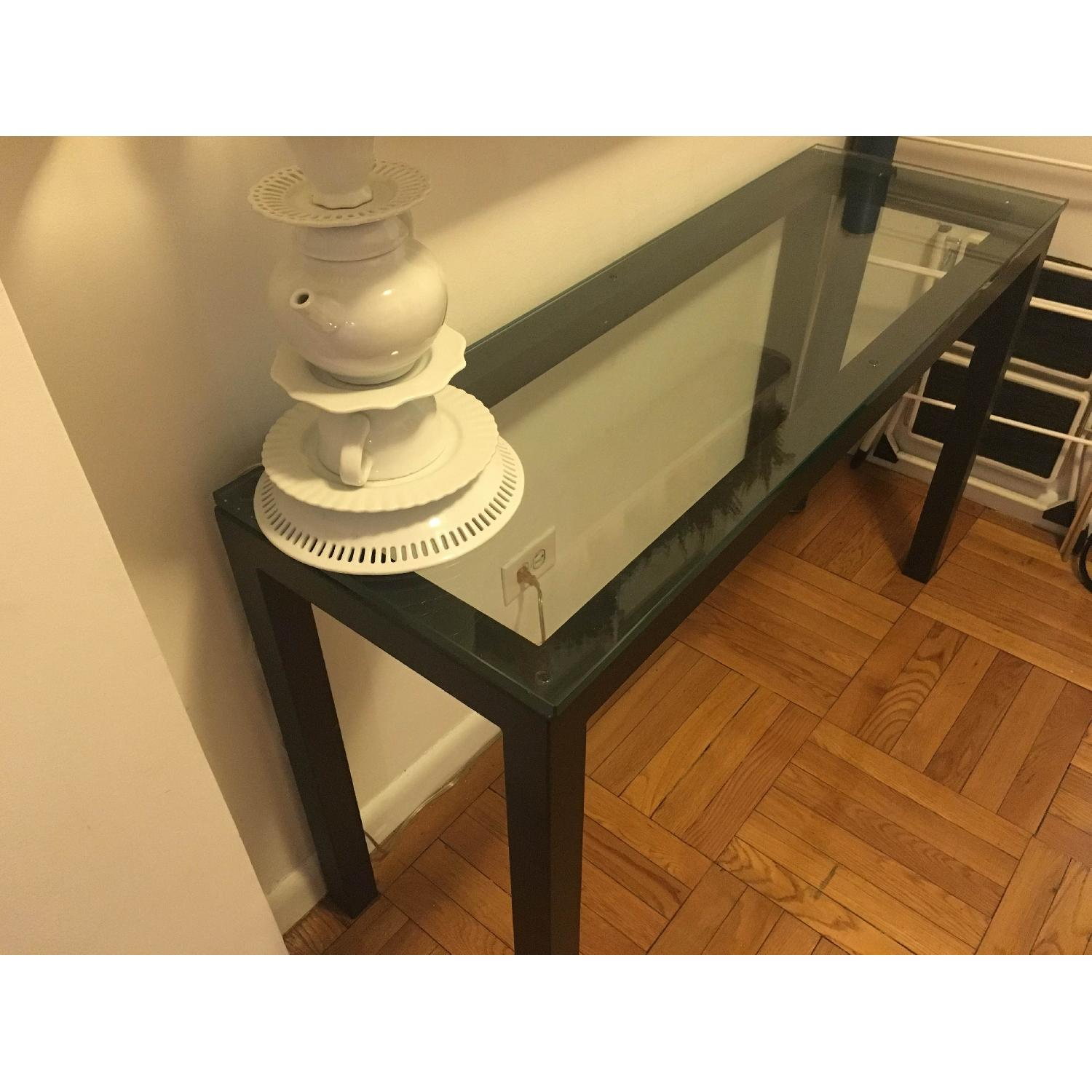 Crate & Barrel Parsons Console Table w/ Clear Glass Top - image-2