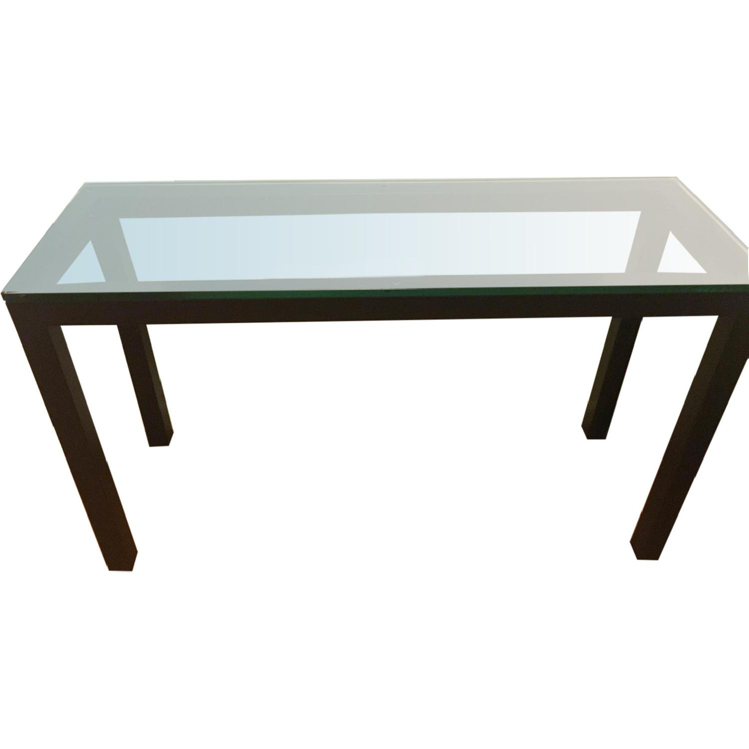 Crate & Barrel Parsons Console Table w/ Clear Glass Top - image-0