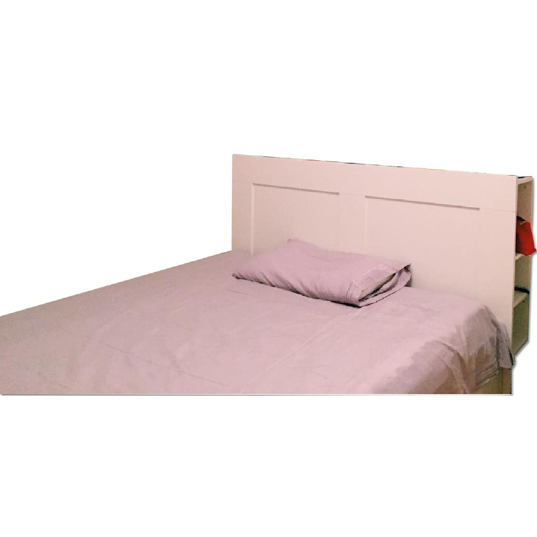 Ikea Queen Size Bed w/ Storage & Storage Headboard - image-0