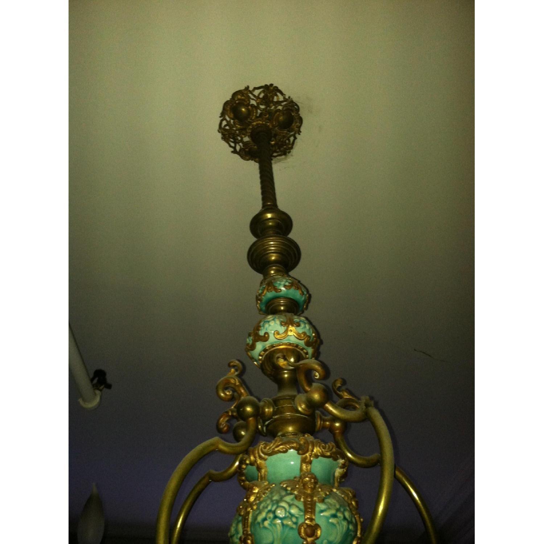 Majoilca Italian Ceramic & Brass Chandelier - image-1