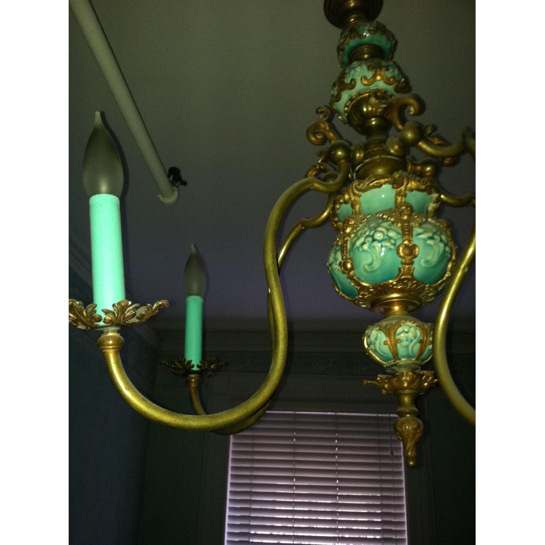 Majoilca Italian Ceramic & Brass Chandelier - image-2