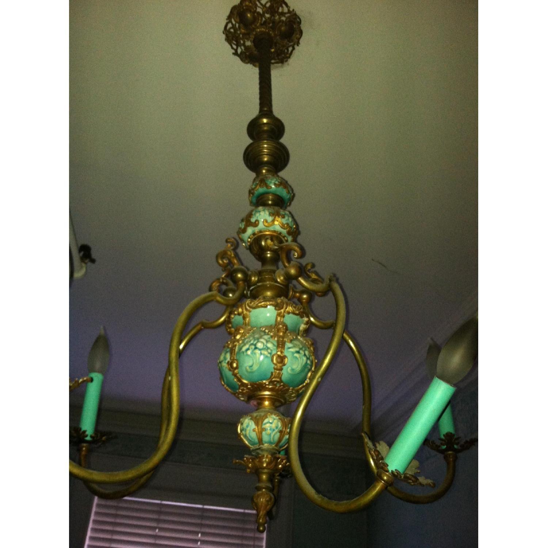 Majoilca Italian Ceramic & Brass Chandelier - image-3