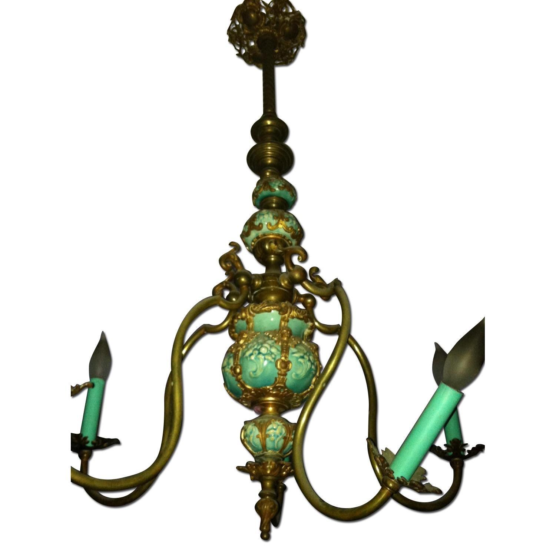 Majoilca Italian Ceramic & Brass Chandelier - image-0