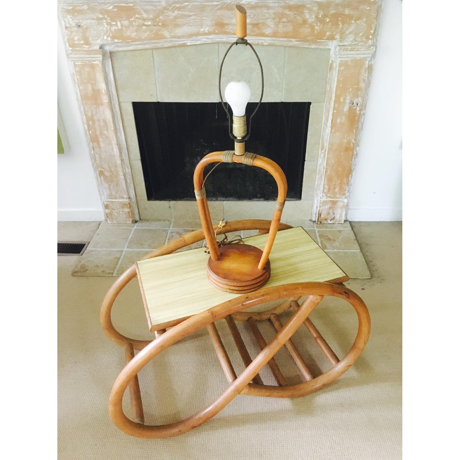 Mod Bamboo Side Table & Lamp - image-2