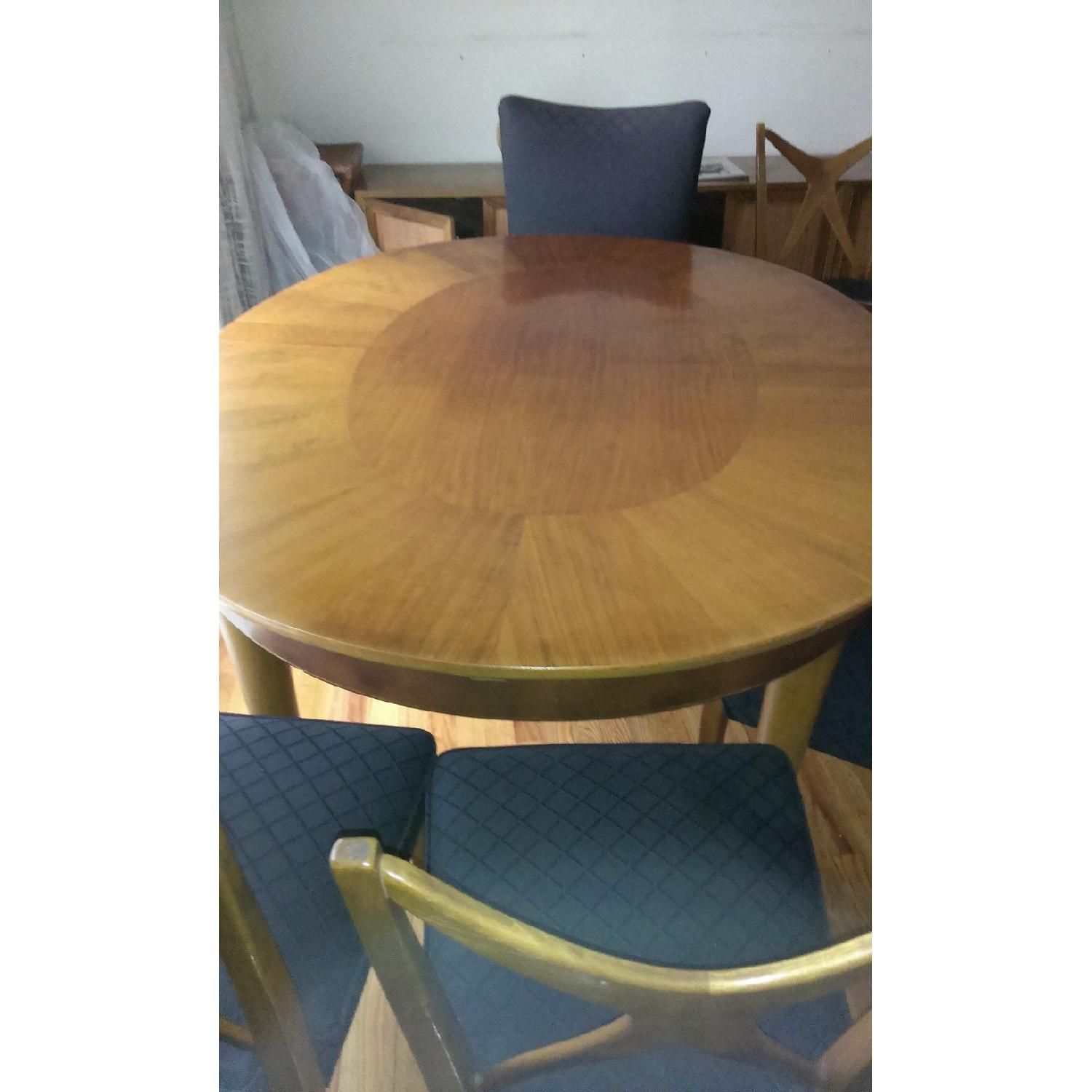 Extendable Dining Table w/ 6 Upholstered Chairs - image-1