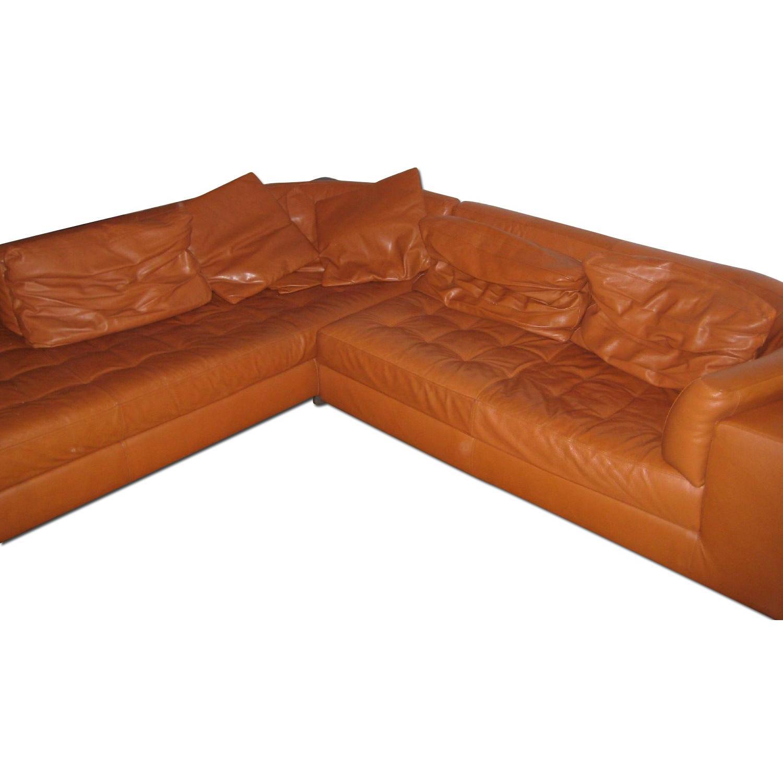 Natuzzi Leather L Shape Couch - image-0
