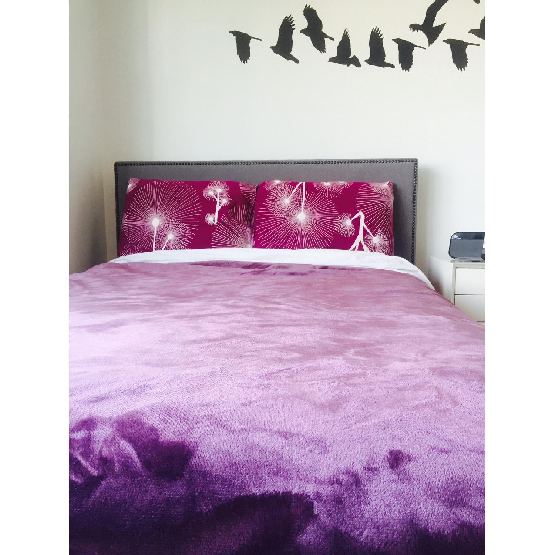 West Elm Nail Upholstered Headboard & Bed Frame - image-1