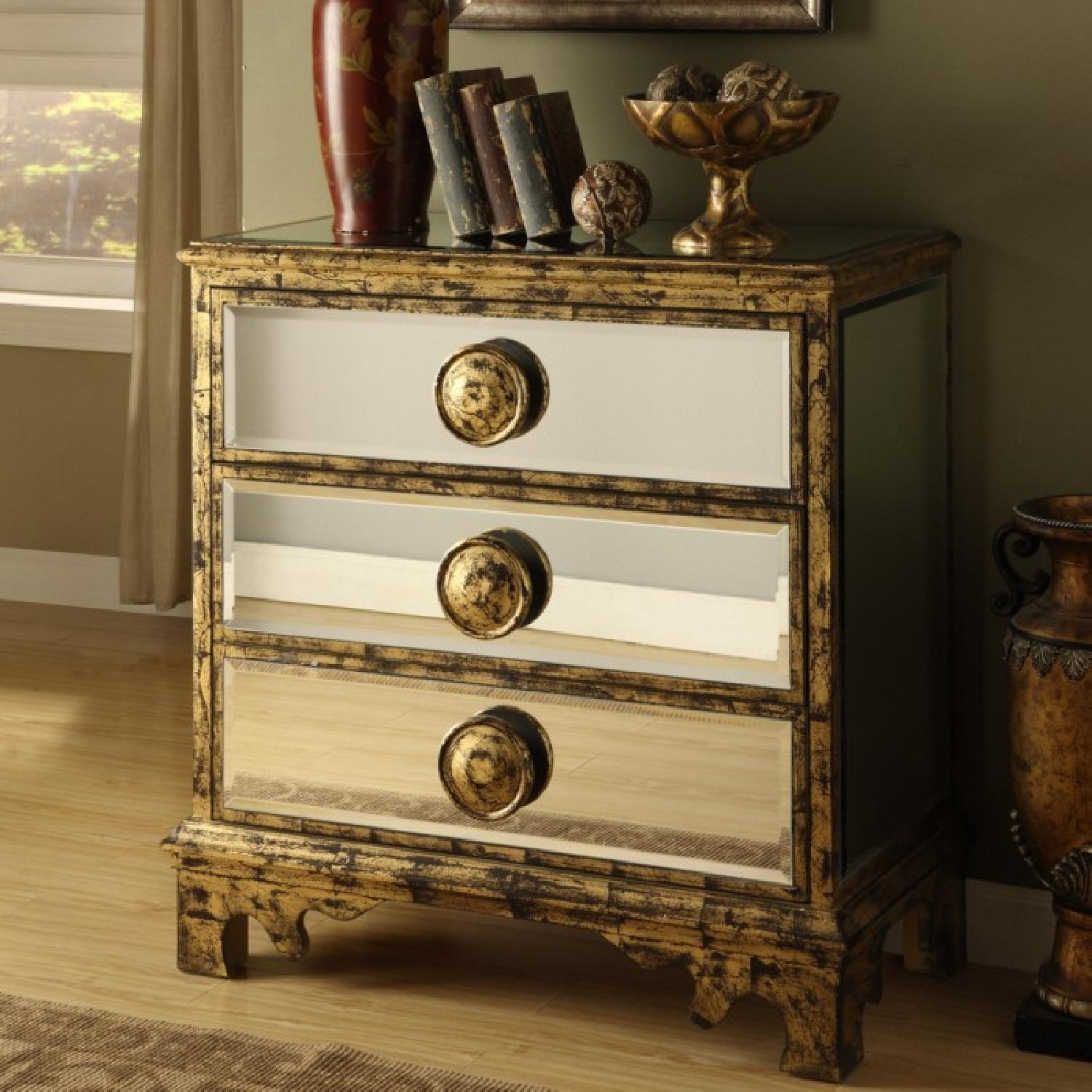 Coast To Coast Imports Mirrored Gold 3 Drawer Chest - image-2