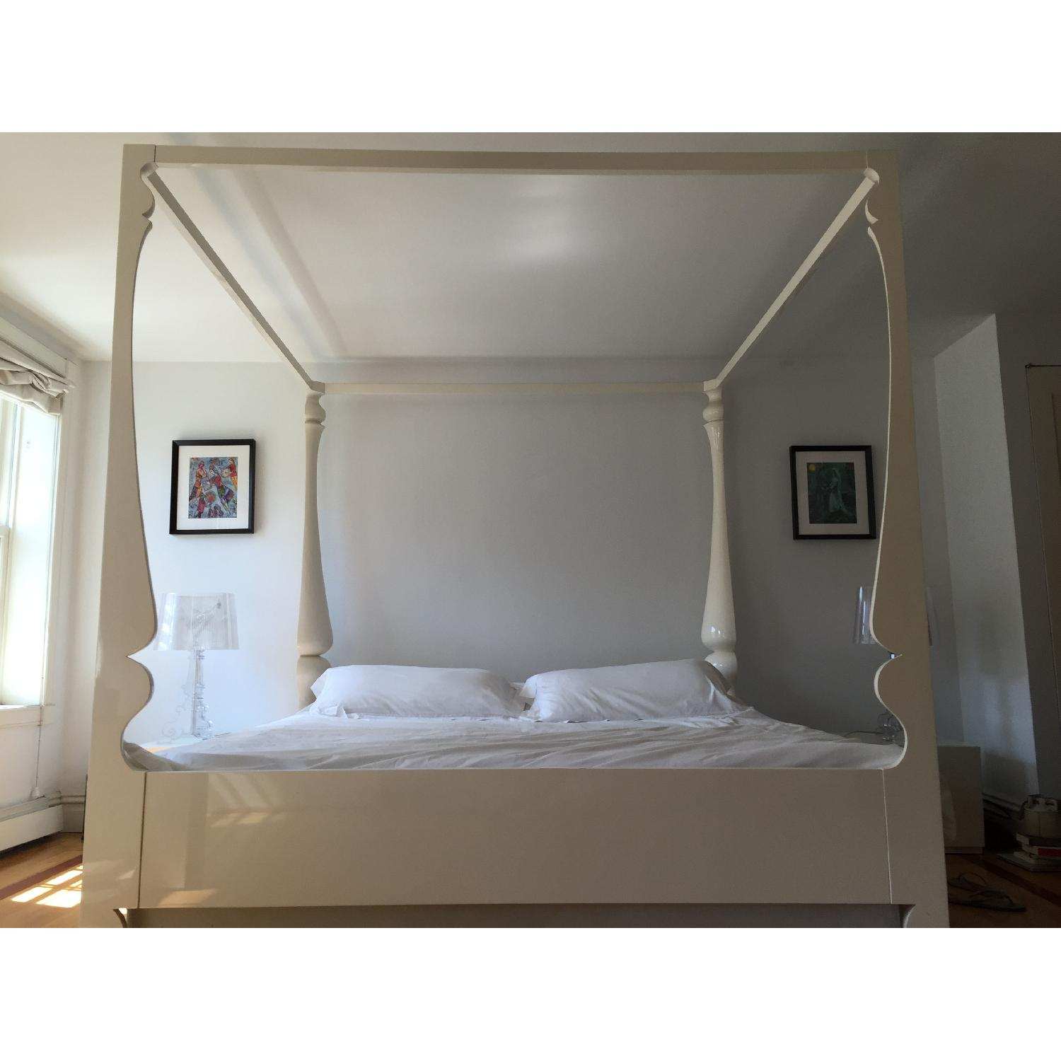 Reeves Design Louis Four Poster King Bed in White - image-1