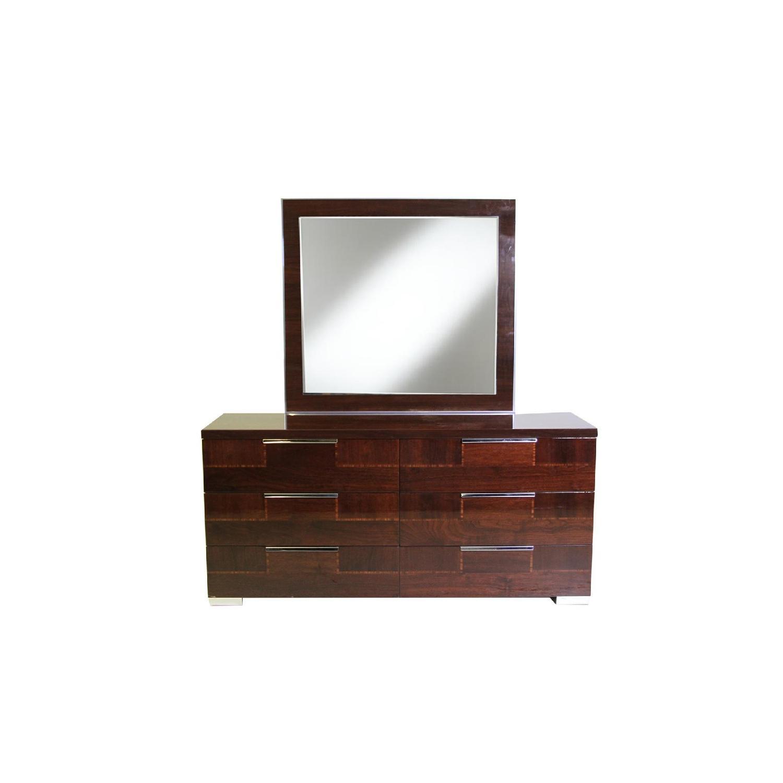 Alf Queen Low Profile Sleigh Bed + Dresser w/ Mirror + 2 Nighstands - image-4