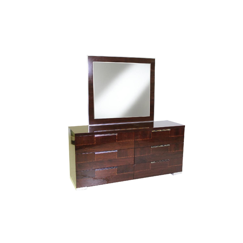 Alf Queen Low Profile Sleigh Bed + Dresser w/ Mirror + 2 Nighstands - image-6