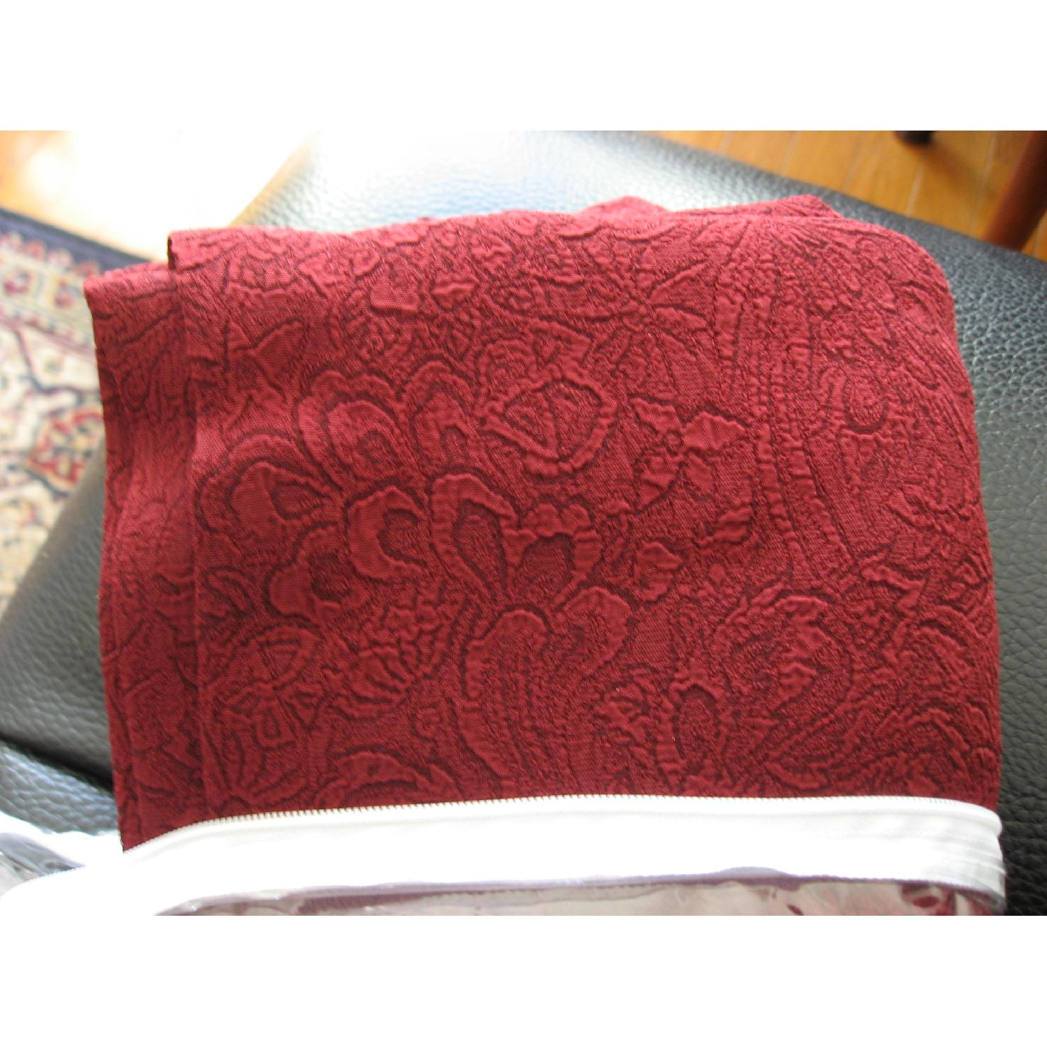 Textured Window Panels & Scarf Valance In Wine Color - image-1