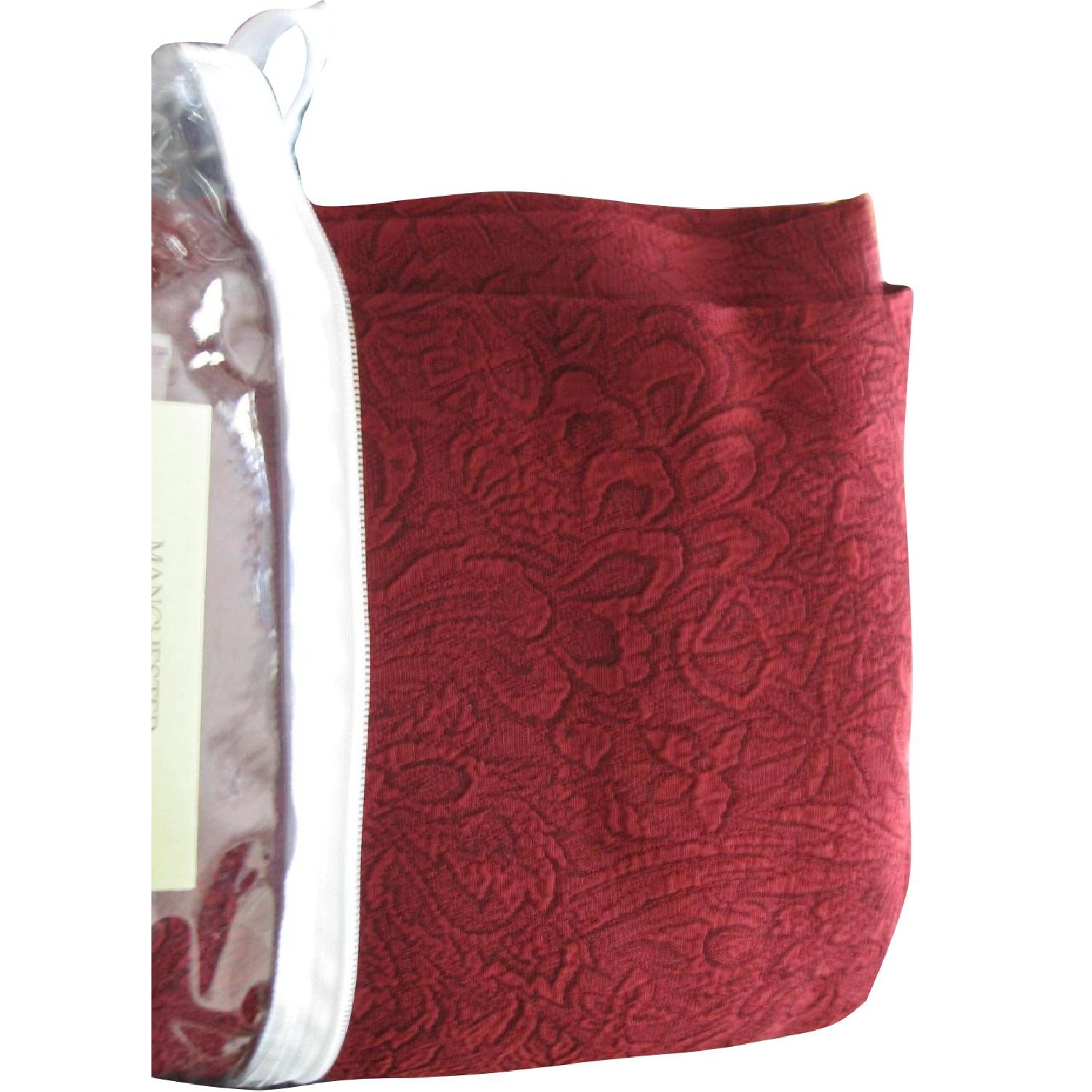 Textured Window Panels & Scarf Valance In Wine Color - image-0