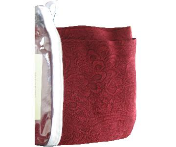 Textured Window Panels & Scarf Valance In Wine Color
