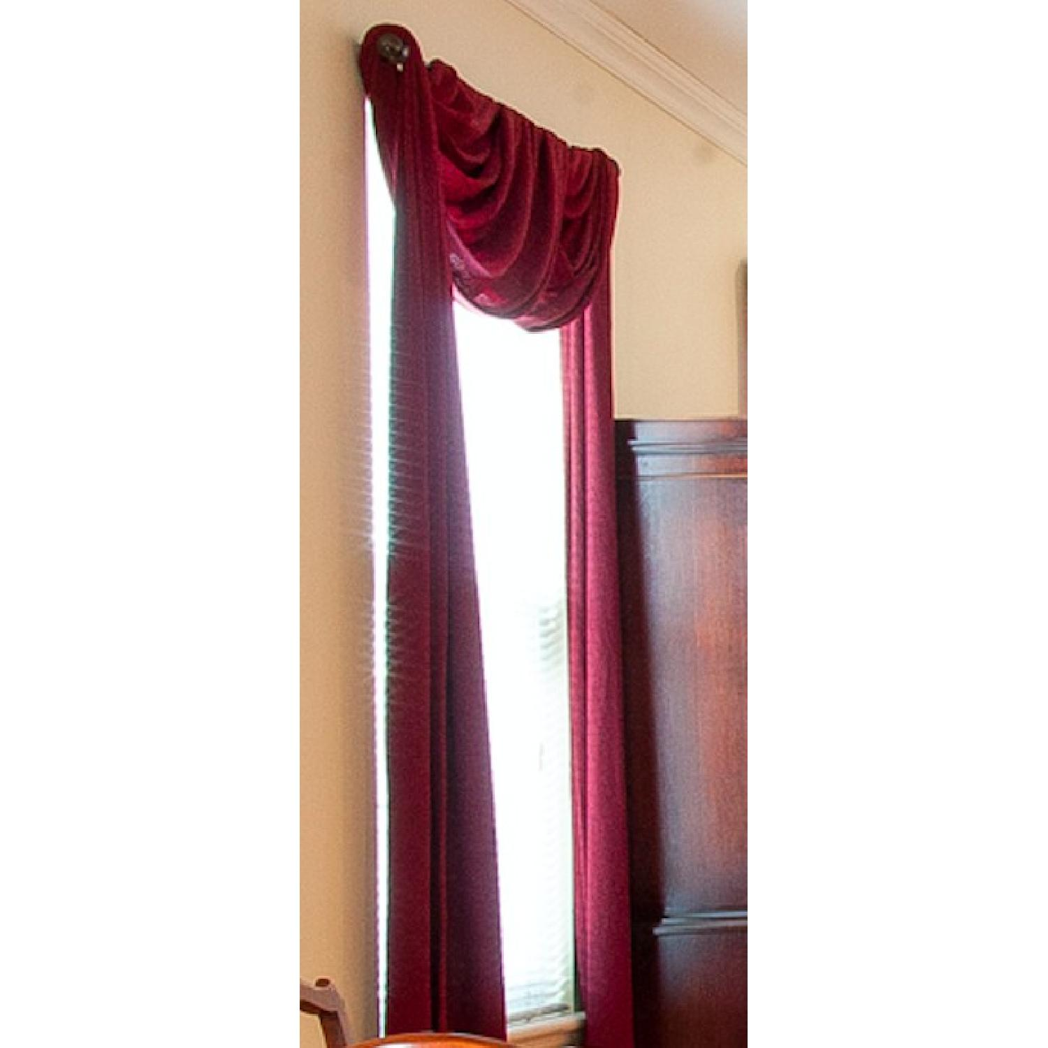 Textured Window Panels & Scarf Valance In Wine Color - image-3