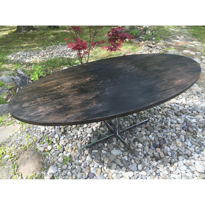 Vintage Distressed Oval Pedestal Table - image-1