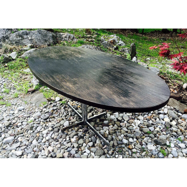 Vintage Distressed Oval Pedestal Table - image-6