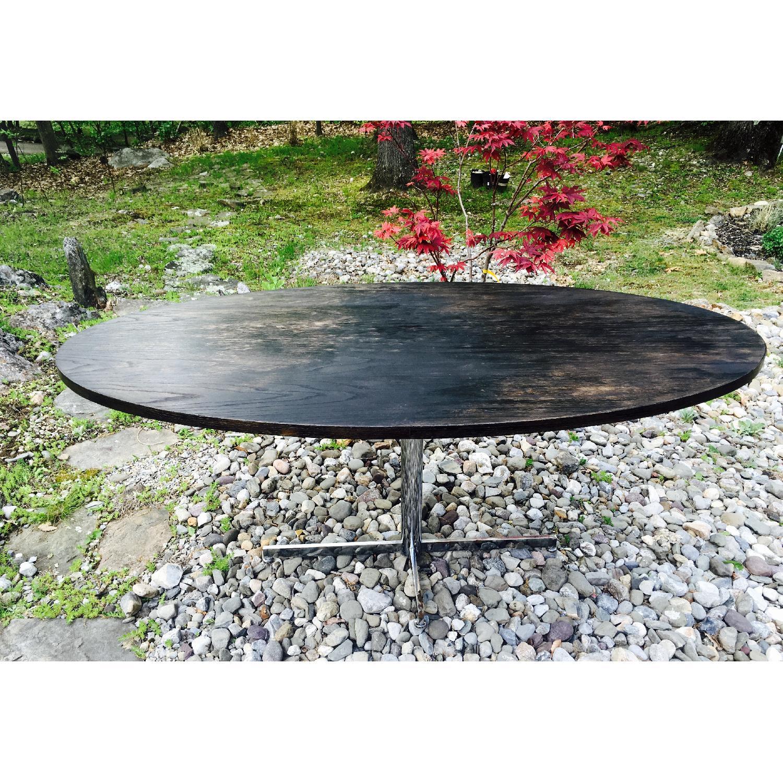 Vintage Distressed Oval Pedestal Table - image-7
