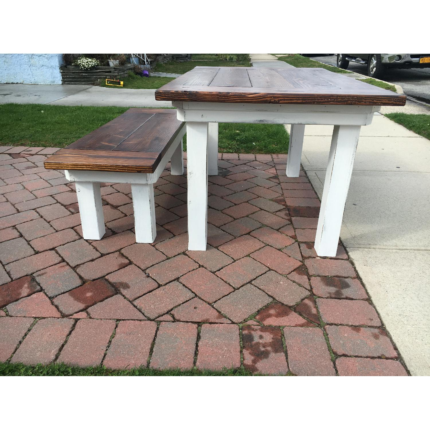 Rustic Farm Table w/ 1 Bench - image-1