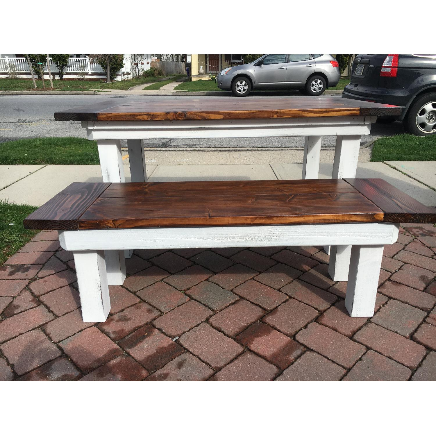 Rustic Farm Table w/ 1 Bench - image-2
