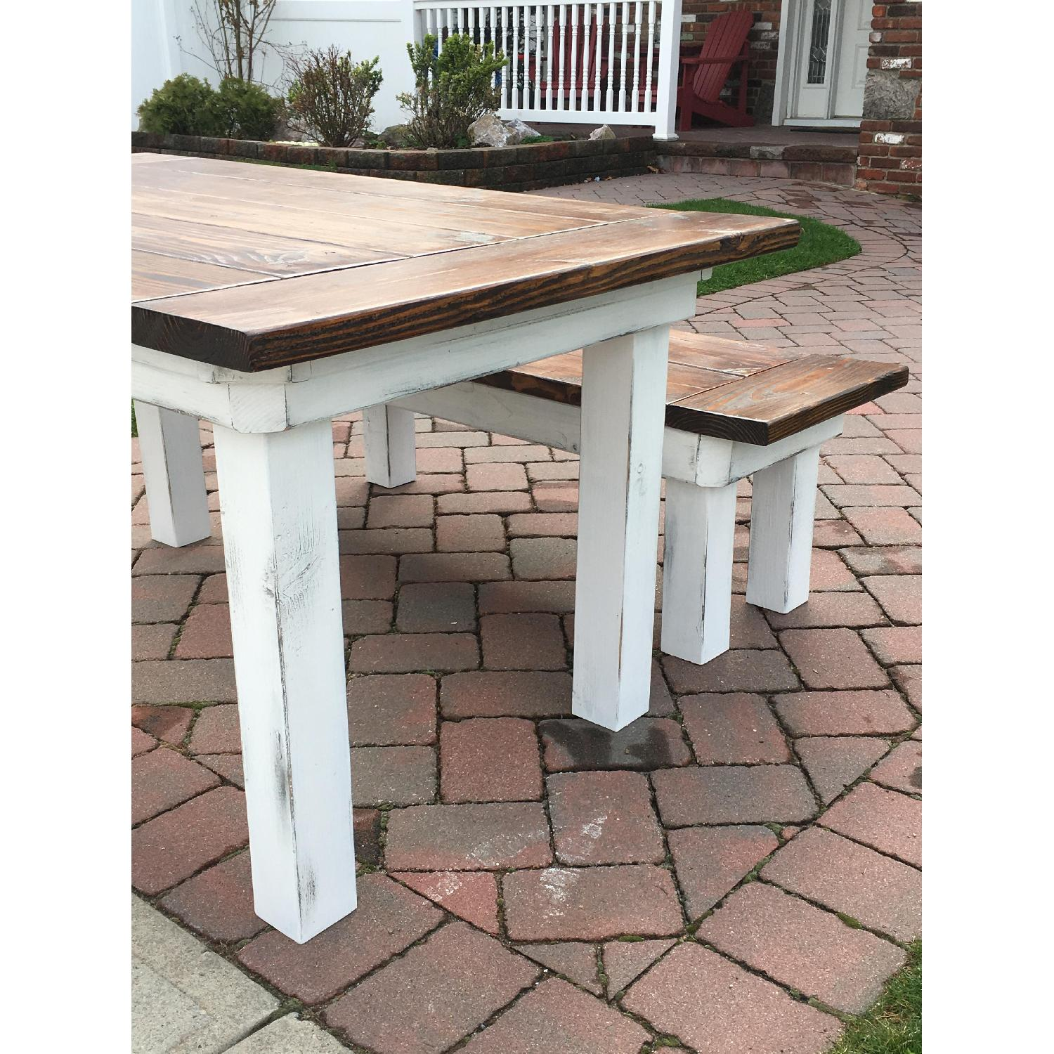 Rustic Farm Table w/ 1 Bench - image-4