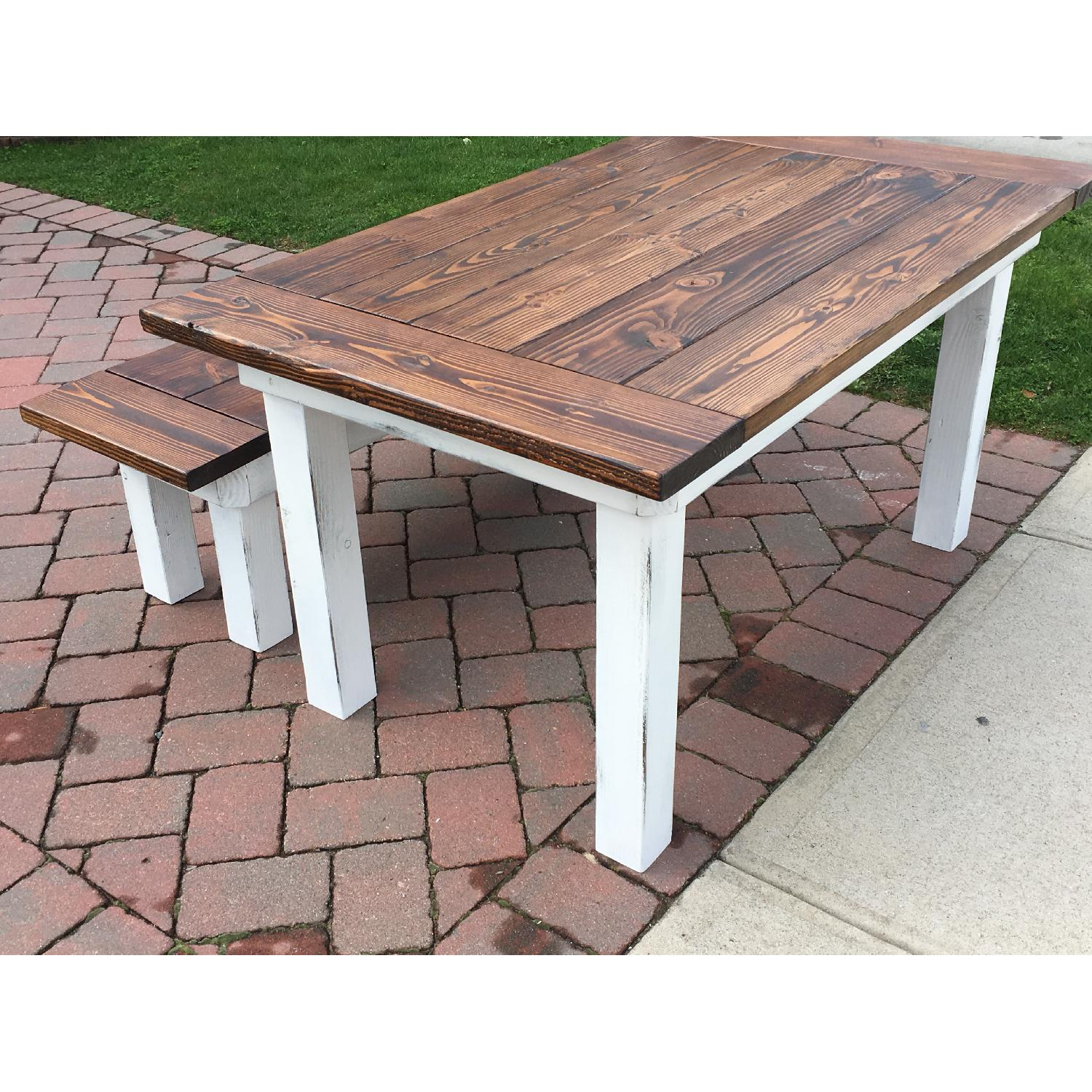 Rustic Farm Table w/ 1 Bench - image-5