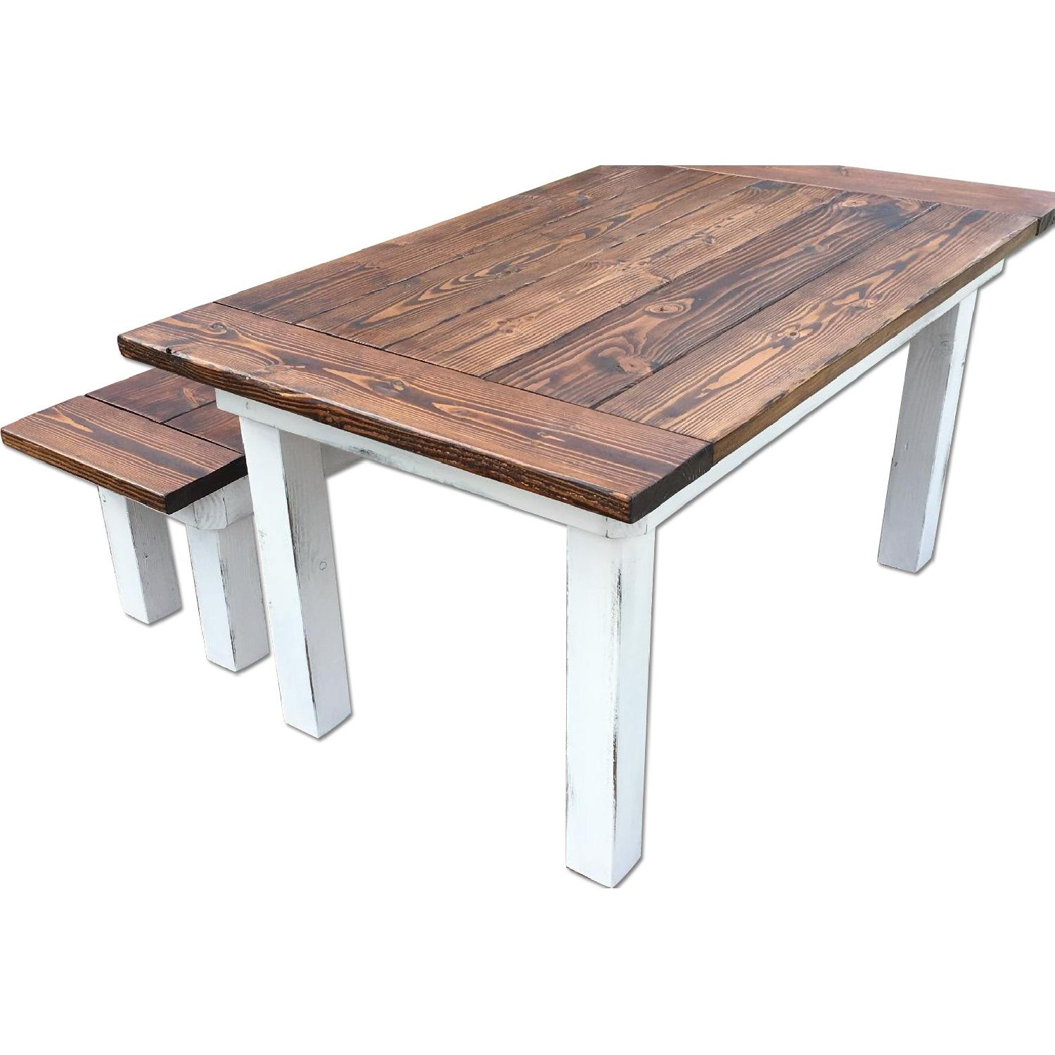 Rustic Farm Table w/ 1 Bench - image-7
