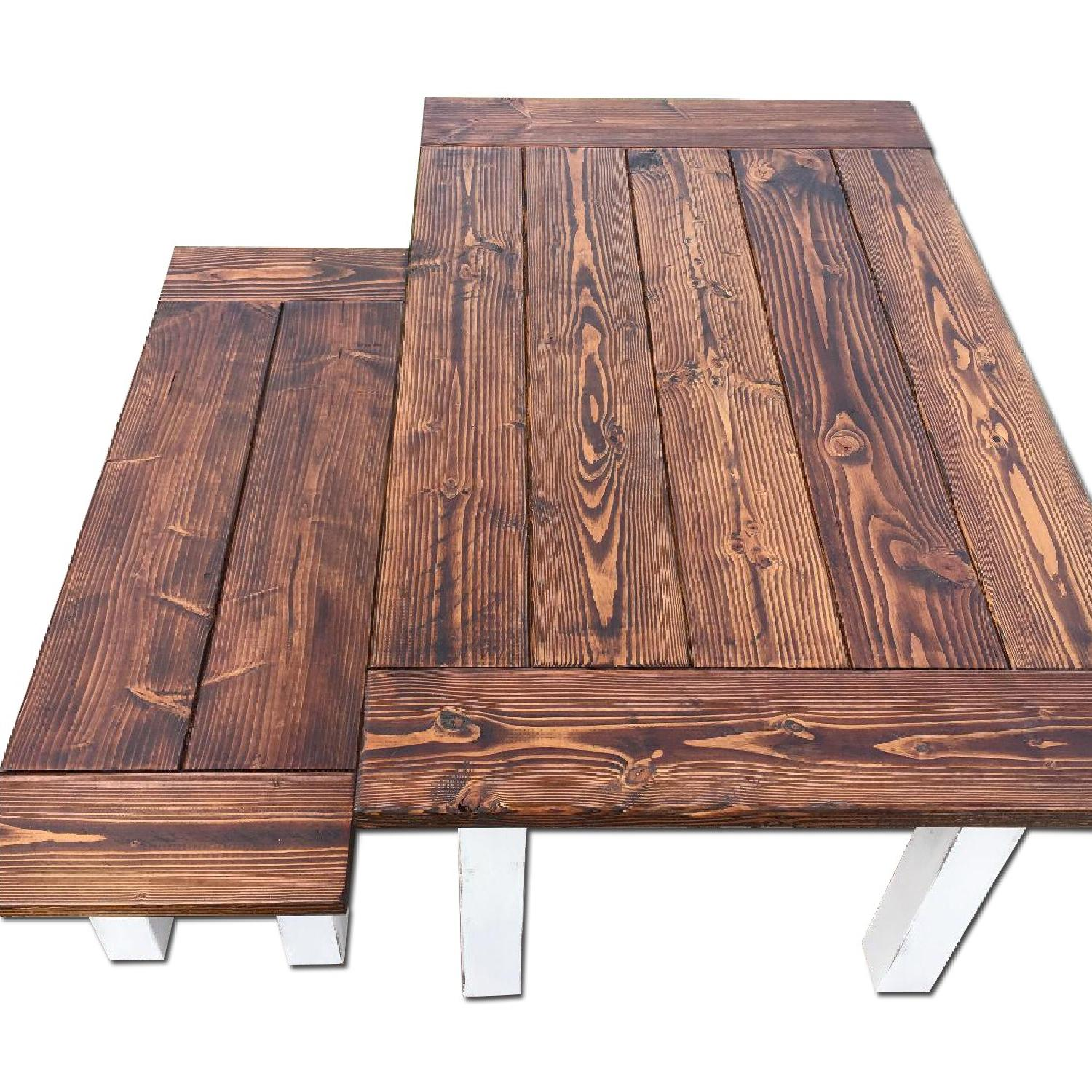 Rustic Farm Table w/ 1 Bench - image-0