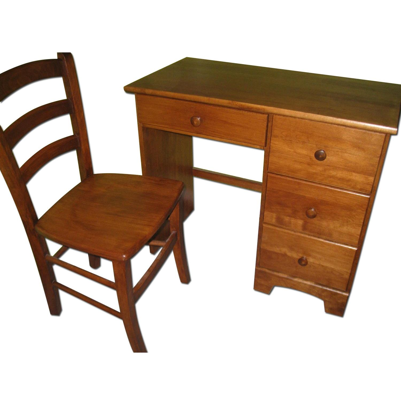 Birch Wood Desk w/ Chair - image-0