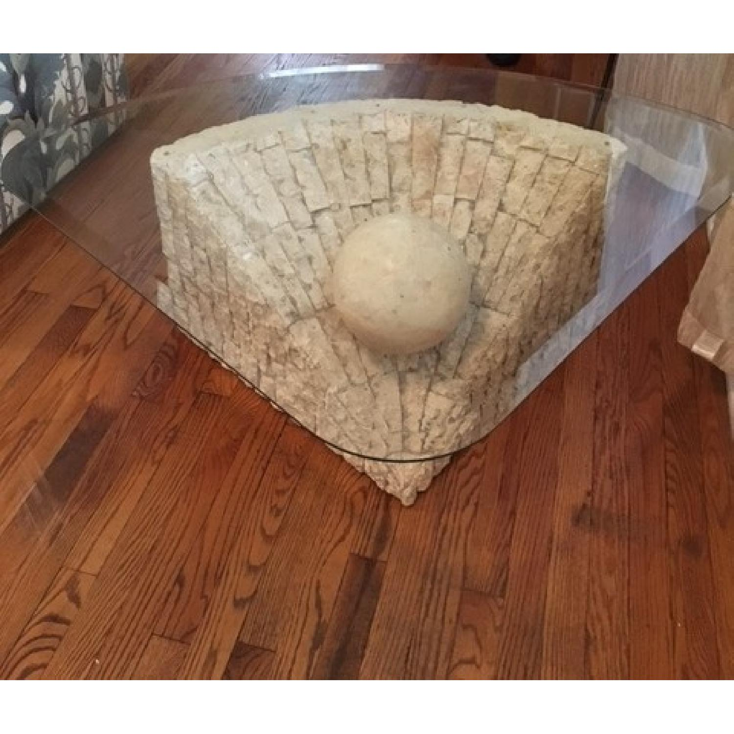 Glass & Stone Coffee Table - image-2