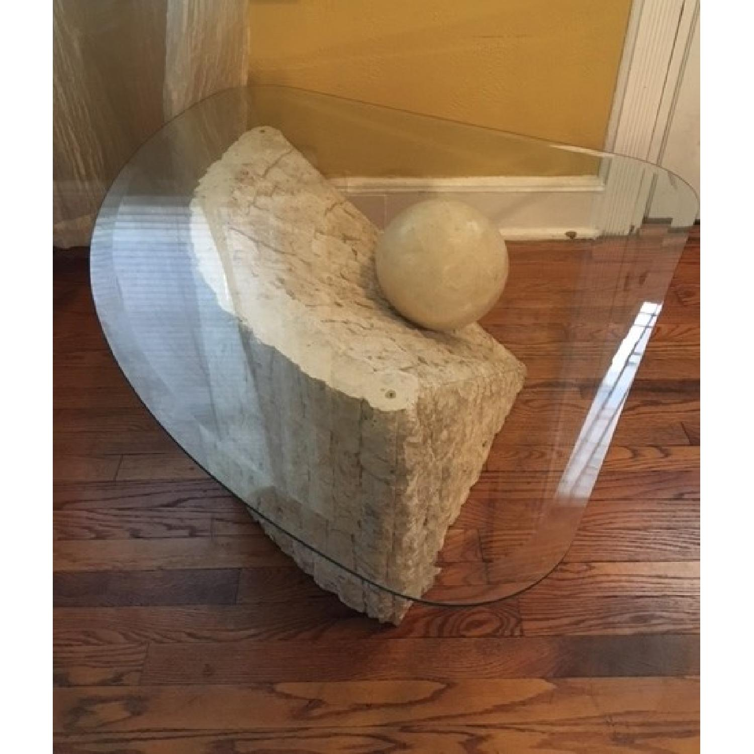 Glass & Stone Coffee Table - image-3