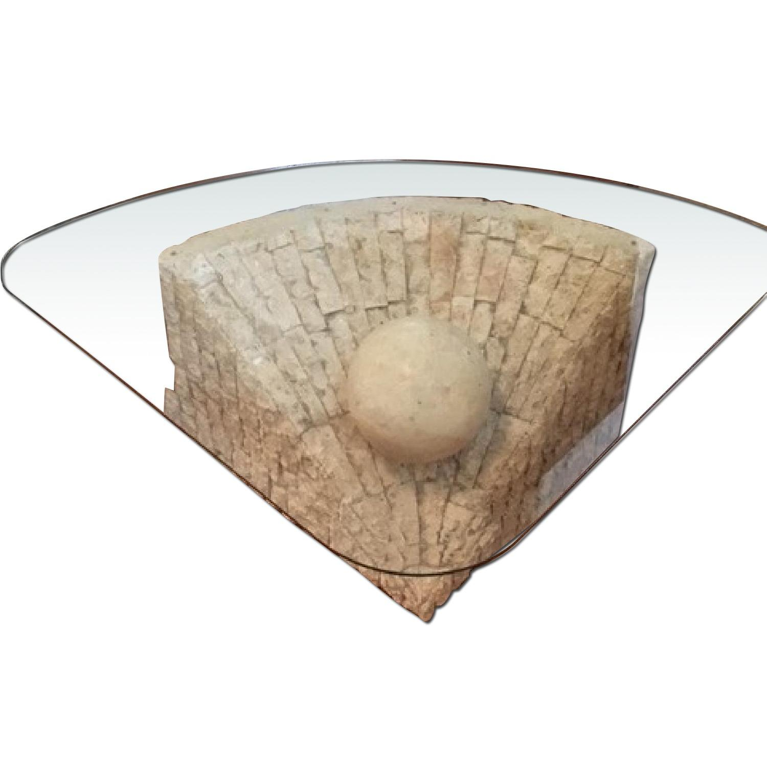 Glass & Stone Coffee Table - image-0