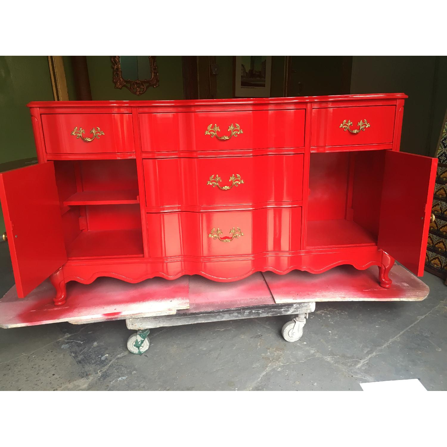 Solid Maple Wood Chinese Red Sideboard - image-3
