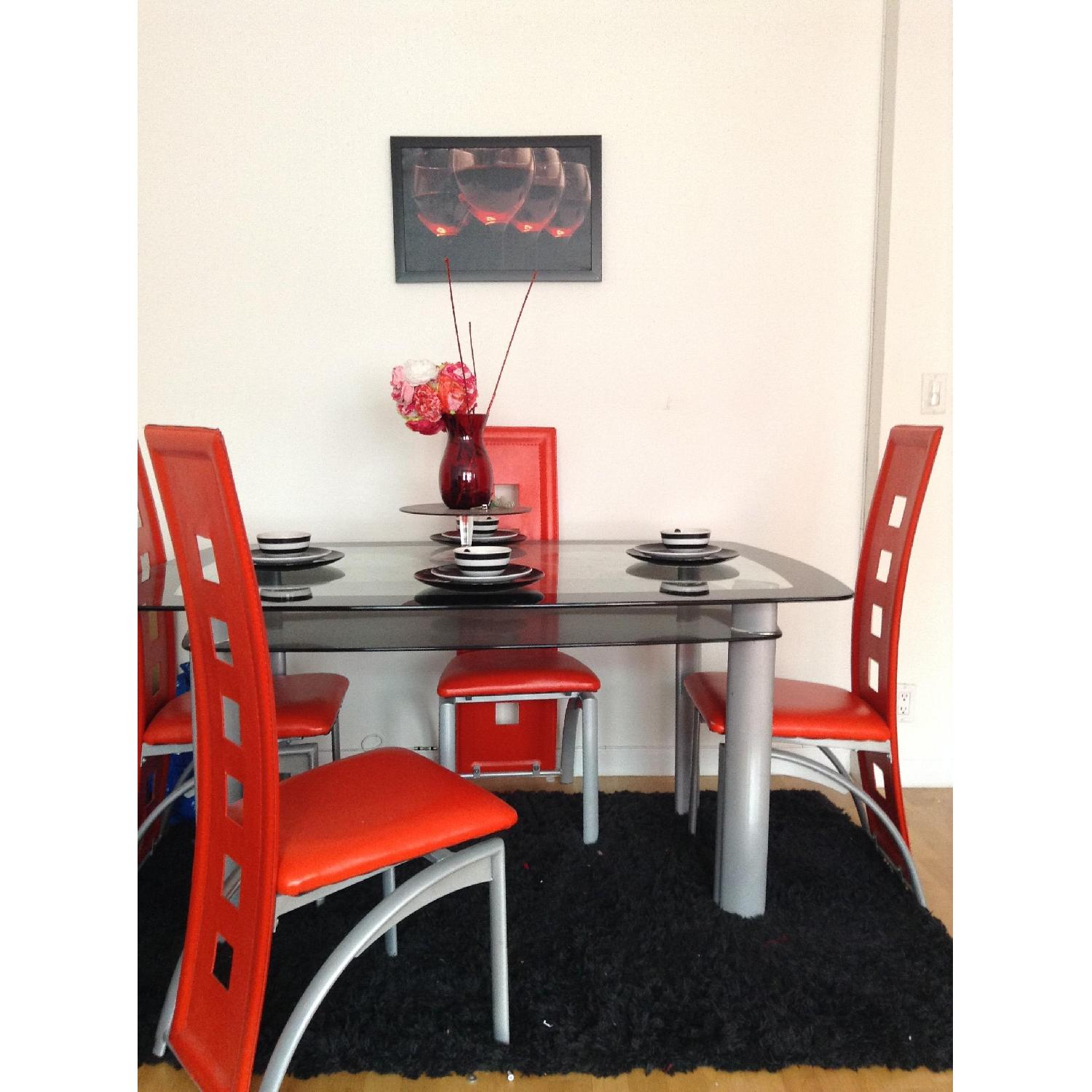 Modern Glass Table w/ 4 Chairs - image-2
