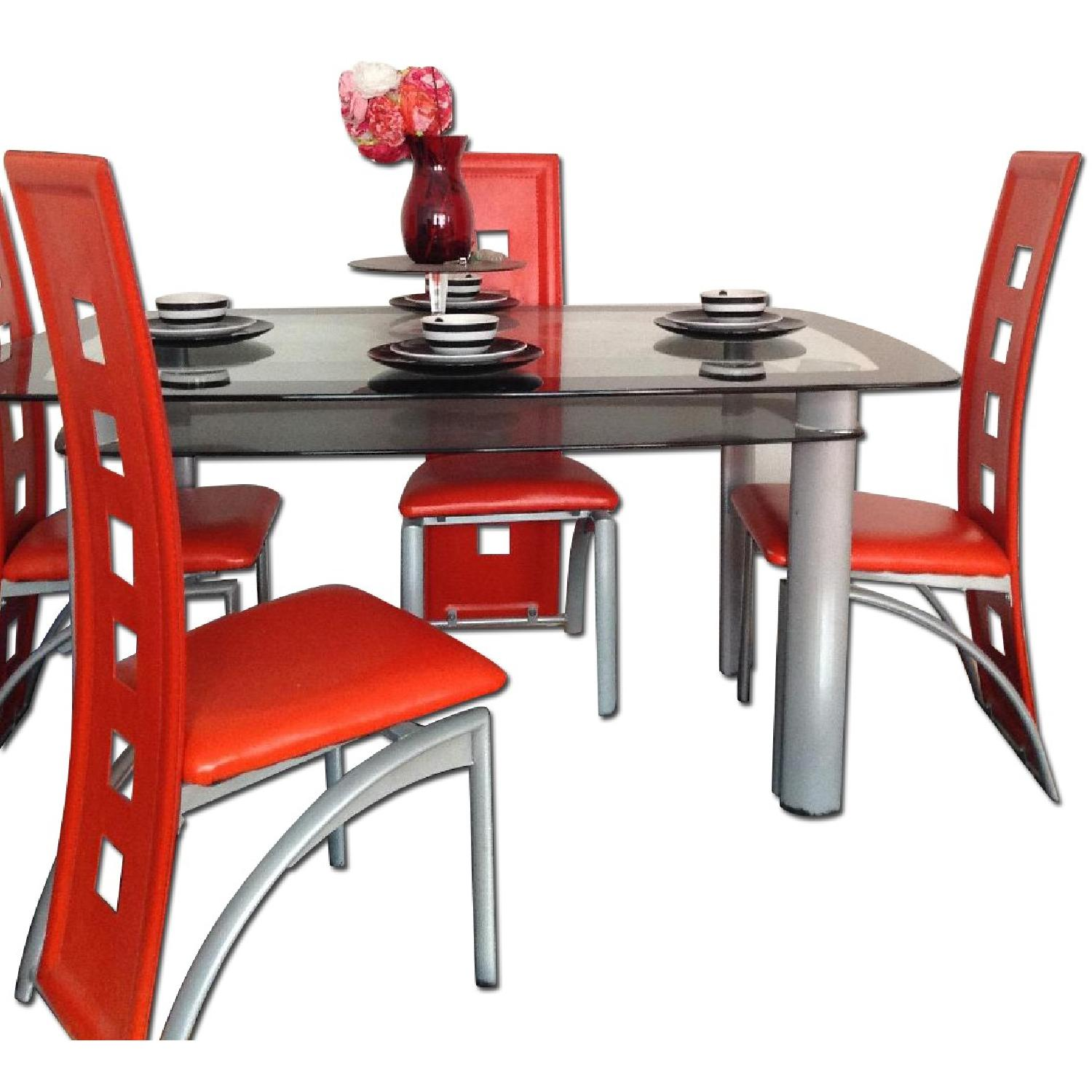 Modern Glass Table w/ 4 Chairs - image-0