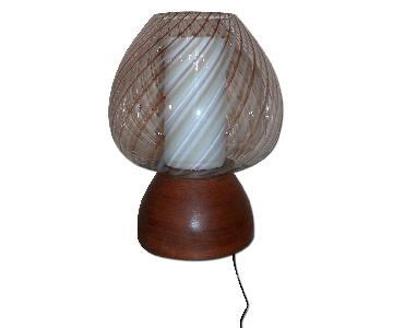 1960's Murano & Walnut Table Lamp