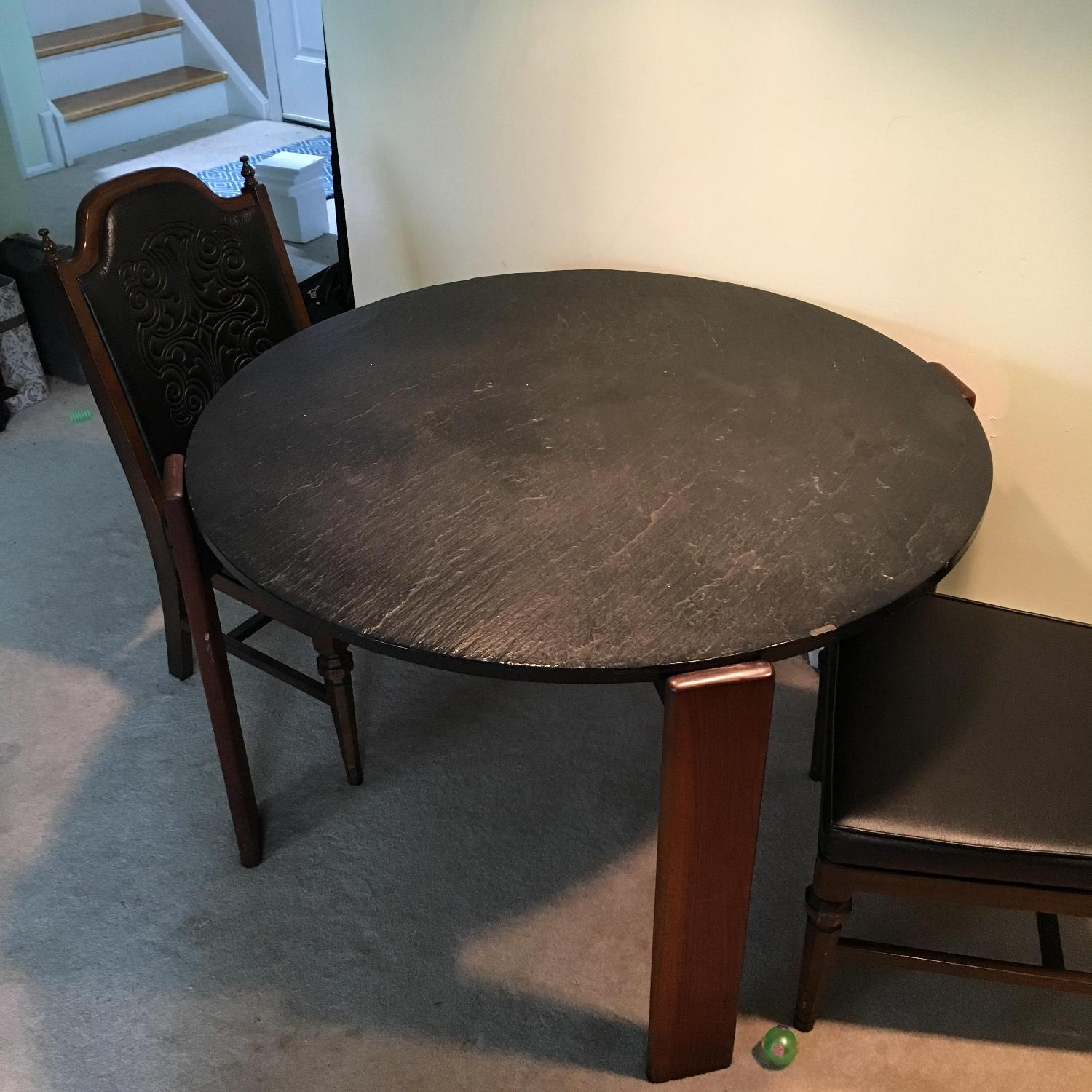 1960s Black Slate Dining Table w/ 4 Chairs - image-1