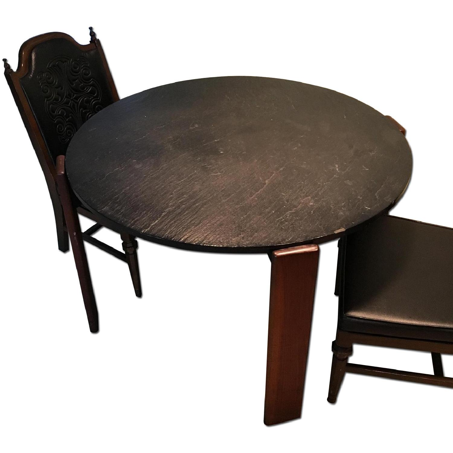 1960s Black Slate Dining Table w/ 4 Chairs - image-0