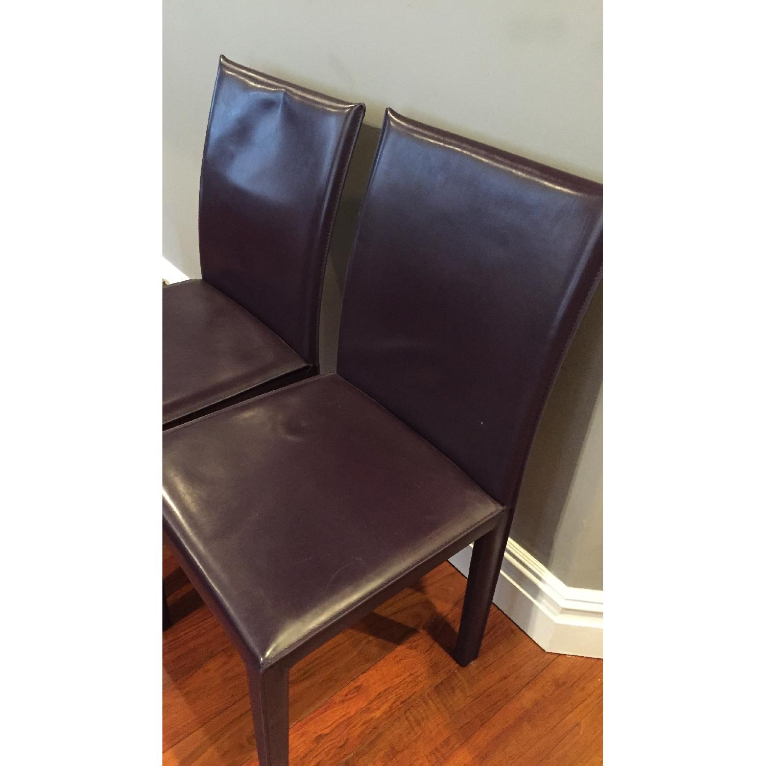 Maria Yee Leather Side Chair in Plum - Pair - image-2