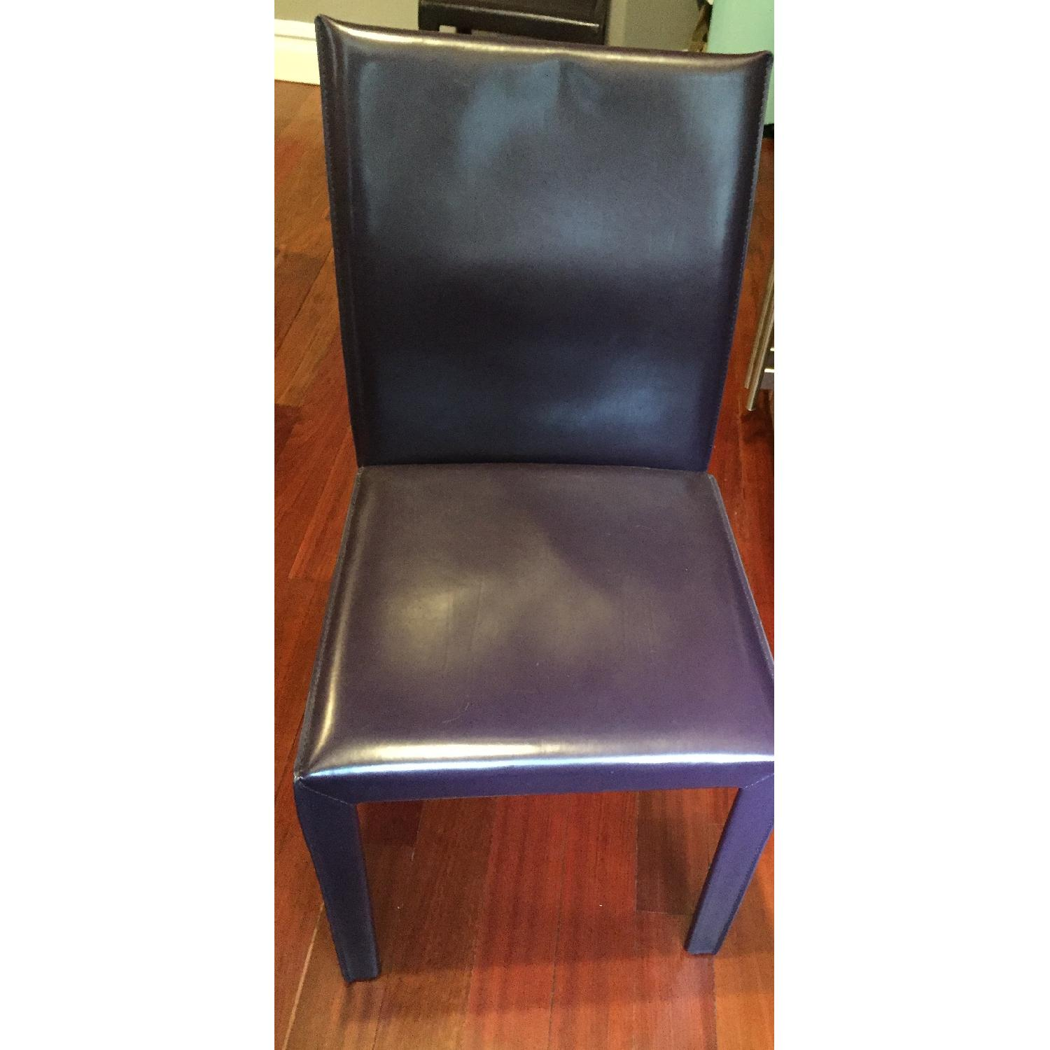 Maria Yee Leather Side Chair in Plum - Pair - image-4